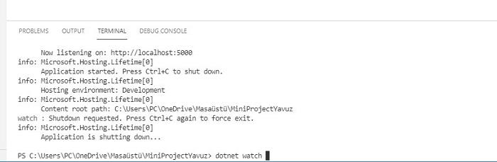 ASP.NET Core MVC'de dotnet watch Komutu Kullanmak