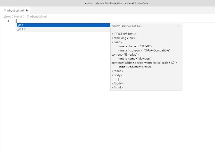 Visual Studio Code'da Cshtml Sayfalar için Emmet Eklentisini Aktifleştirmek